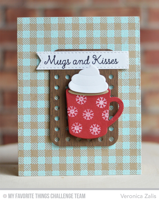 Mugs and Kisses Card by Veronica Zalis featuing the Laina Lamb Design Hug in a Mug stamp set and Hot Cocoa Die-namics, Gingham Background stamp, and Blueprints 22 Die-namics #mftstamps