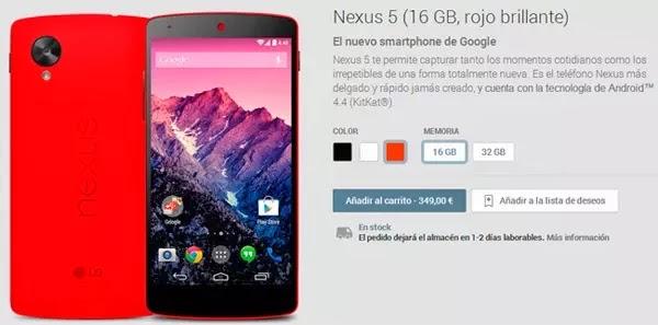 Disponible el Google Play el Nexus 5 en rojo brillante