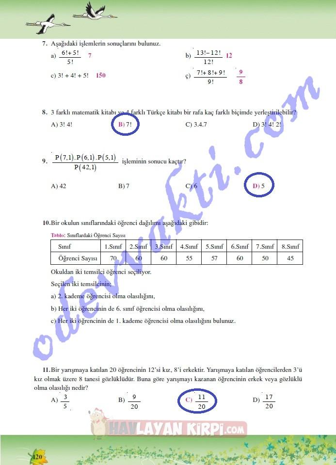 2013 2014 üner Yayınları 7sınıf Matematik Dersi çalışma Kitabı Soru