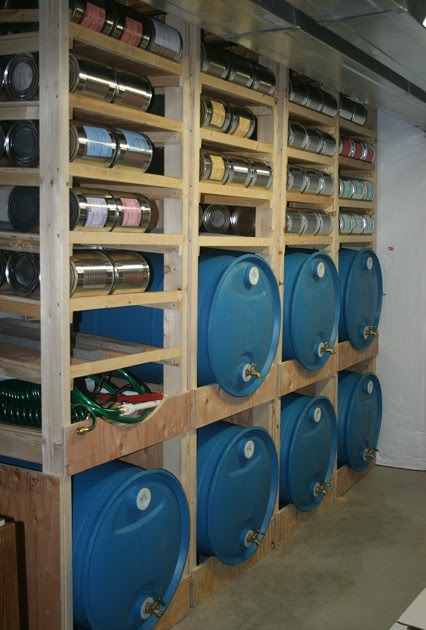 Prepared lds family food storage shelves with water for Family home storage