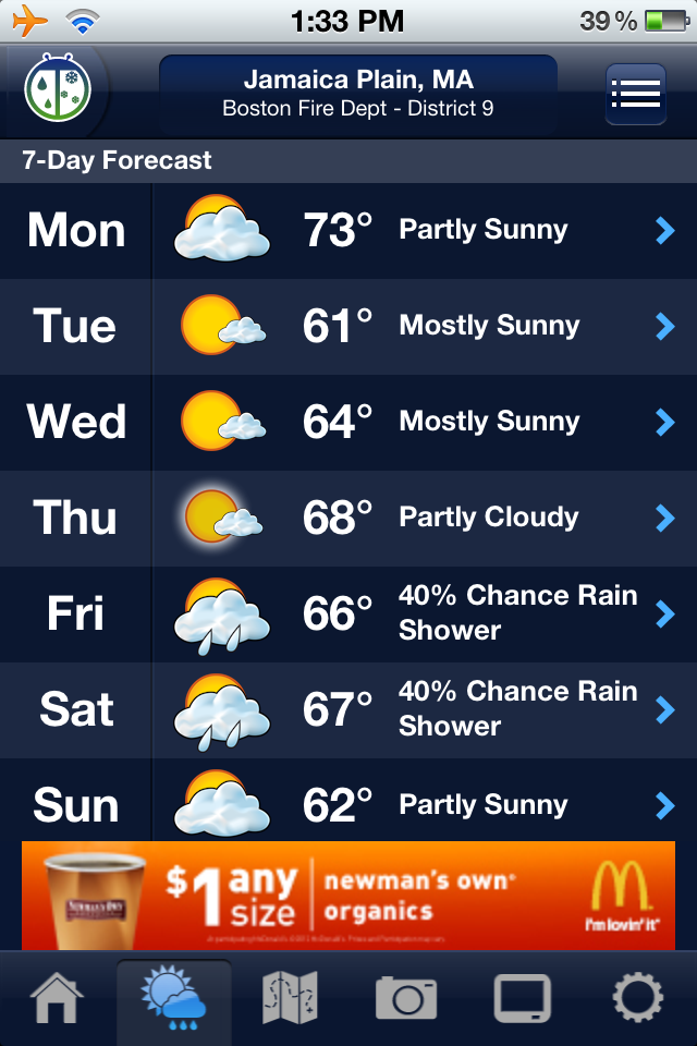 Jamaica Plain weather, according to weather bug, for the week of October 15th, 2012