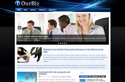 Black Blue Business Wordpress Theme Template