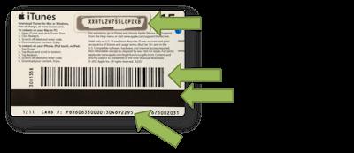 Diferentes códigos en una iTunes Gift Card USA