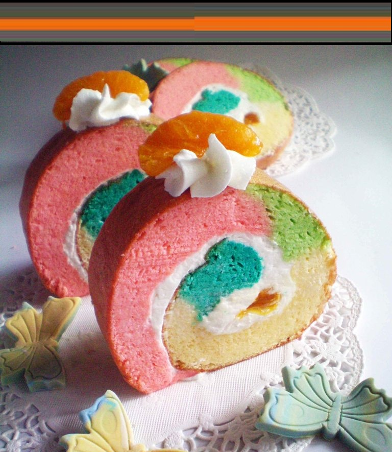 Rainbow Roll Cake Resep Membuat Roll Cak...