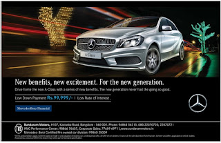 Low Down payment and Low Rate of Interest offers on  on Benz A Class series | Big Discount on Benz cars