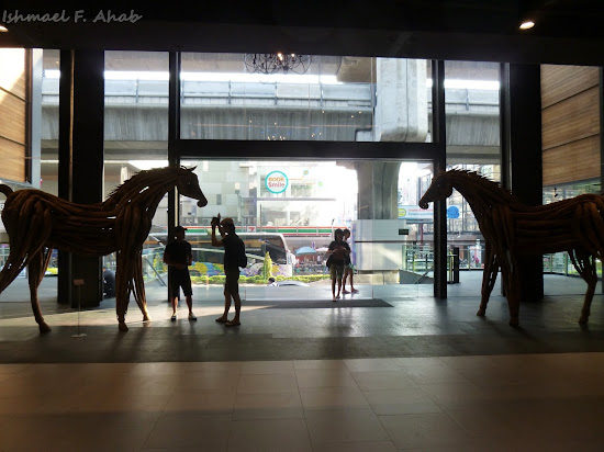 Statue of wooden horses in Siam Center, Bangkok