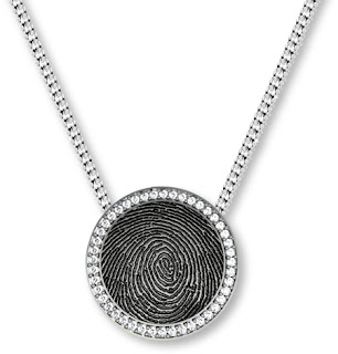 Sterling Silver Round Pendant with Fingerprint and Diamond Bezel