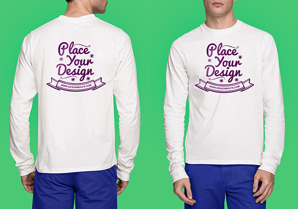 Download T-shirt Mockup PSD Terbaru Gratis - White Long Sleeves T-shirt Mock-up Photoshop PSD File