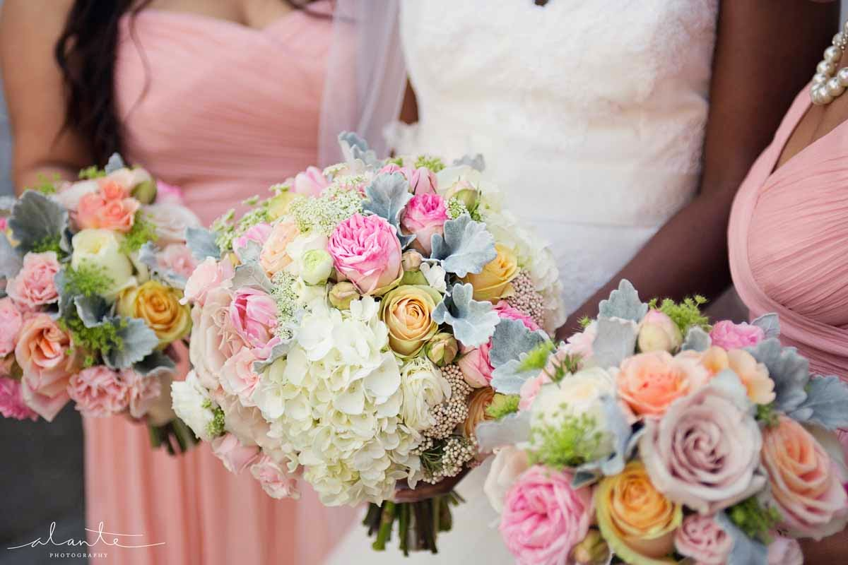 pink roses, Edgewater Hotel Wedding, blush wedding flowers