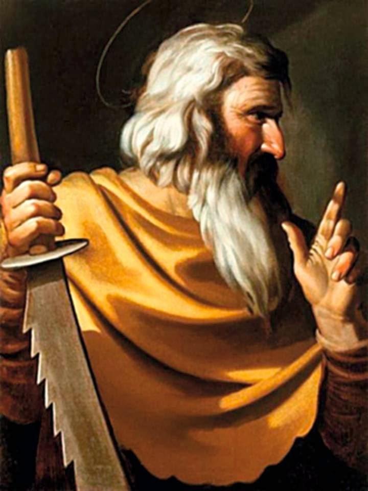 En la imagen, San Simon, el Cananeo, con la sierra de su martirio en la mano.