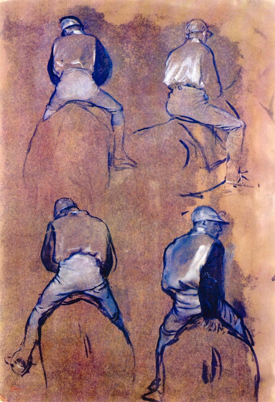 Cuatro estudios de jockeys, ca. 1866-1870