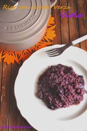 risotto con cavolo verza viola