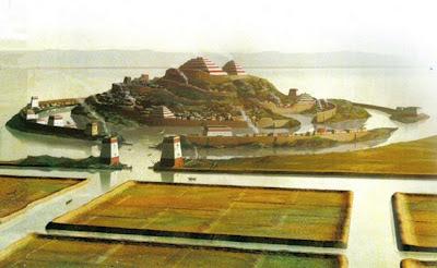 reconstrucción artistica de la ciudad de Atlántida.