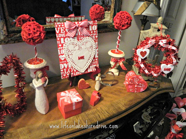 Valentine's Day Vignette, wreath, wall art, doily, felt topiaries