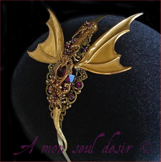Bijoux Dragon Or Targaryen Smaug Medieval Fantasy Serre Tête Cheveux Coiffure Daenerys