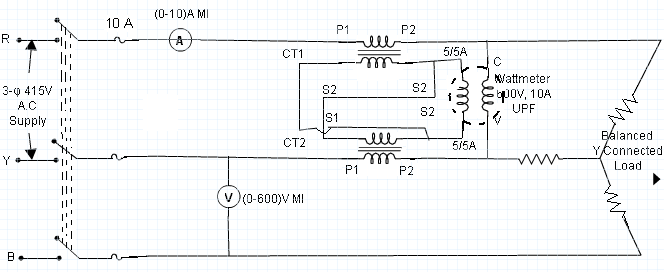 measurement of 3 phase power using 2 cts and 1 wattmeter