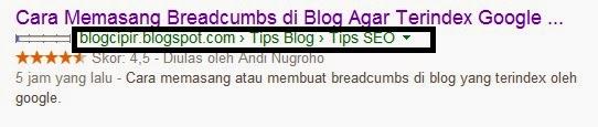 Cara memasang atau membuat breadcumbs di blog yang terindex oleh google