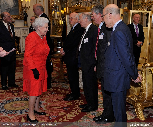 Queen Elizabeth II meets with Lord Dyson, Chairman, Magna Carta Trust, Sir Robert Worcester, Chairman, Magna Carta 800th Trust, Lord Neuberger, Professor Robert Hazell and Joshua Rozenberg during a reception to mark the 800th anniversary of the Magna Carta