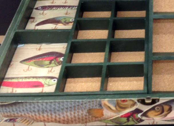 Glue paper and cork board in each compartment.