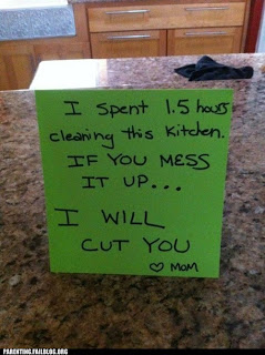 murderous mum warning in clean kitchen funny sign