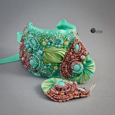 kolczyki i bransoleta - haft koralikowy