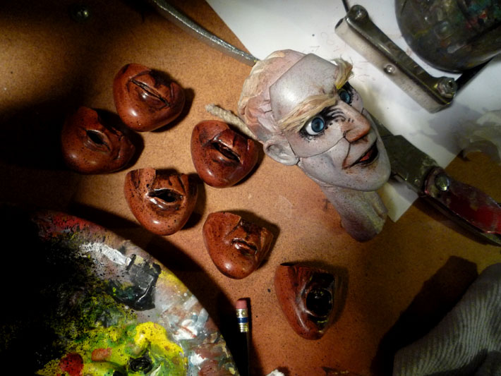 Painted Head & Replacement Faces, Stopmotion Puppet © 2012 Jeff Lafferty