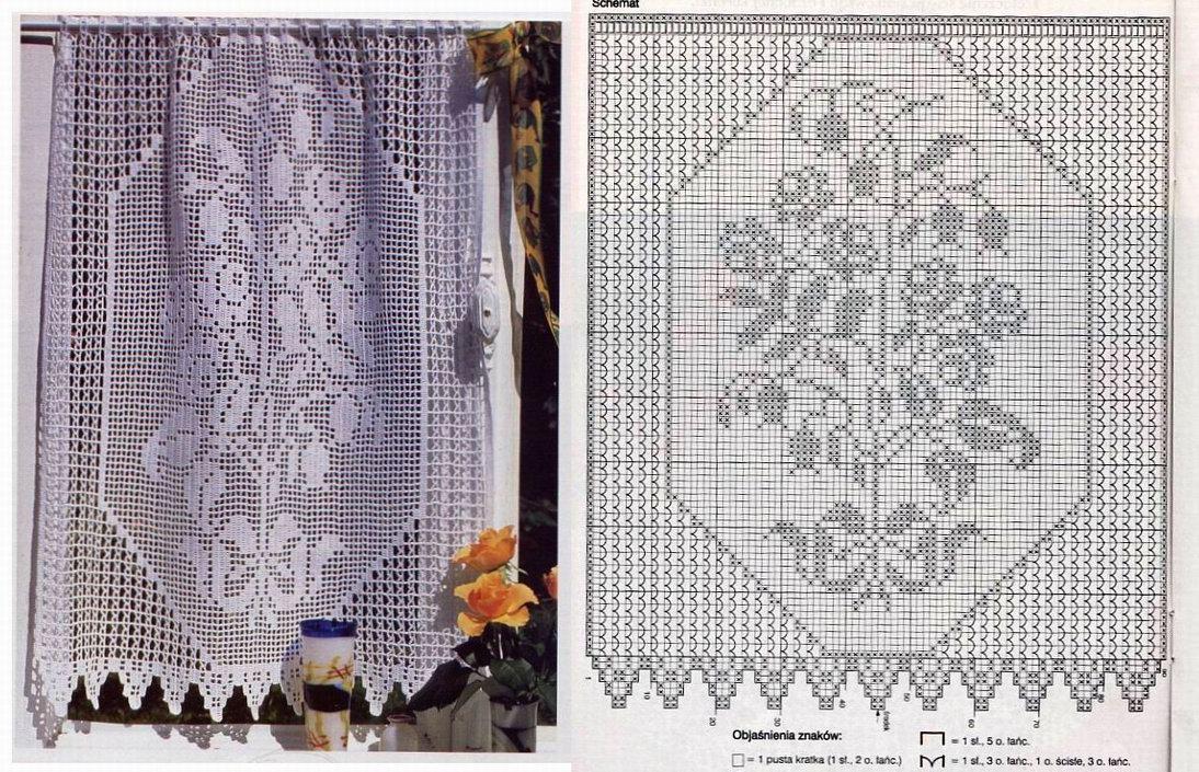 Схемы вязания занавесок филейным вязанием 820