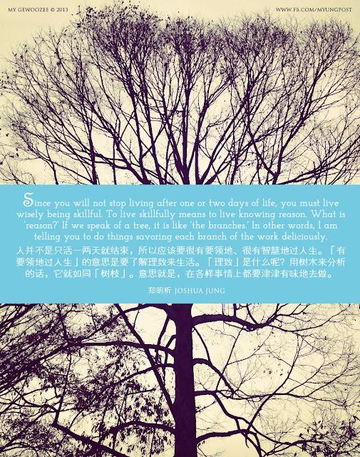 郑明析, Joshua Jung, Providence, Religion, Faith, Proverb, Tree, Life,