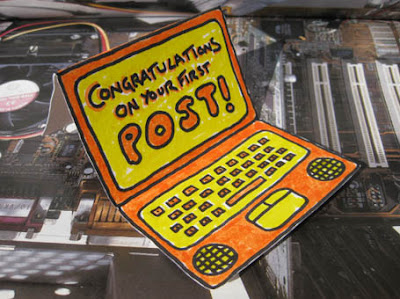 It's a Congratulations On Your First Post card!