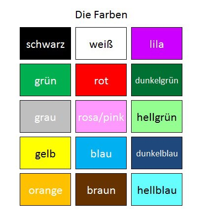 quero aprender alem o deutsch als fremdsprache cores em alem o. Black Bedroom Furniture Sets. Home Design Ideas
