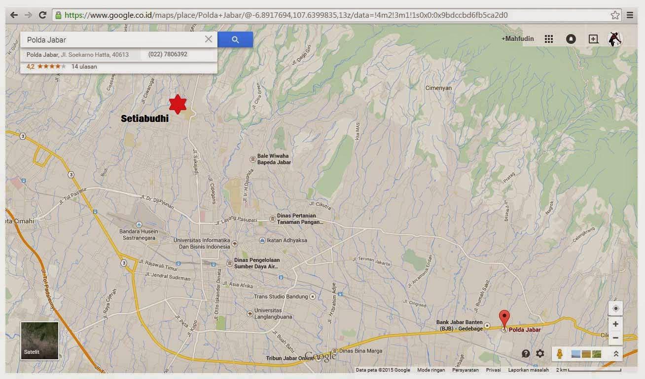 Peta Menuju Polda Bandung