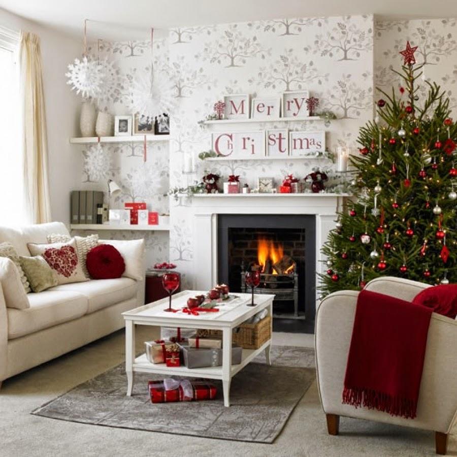 Lovely White Christmas Living Room