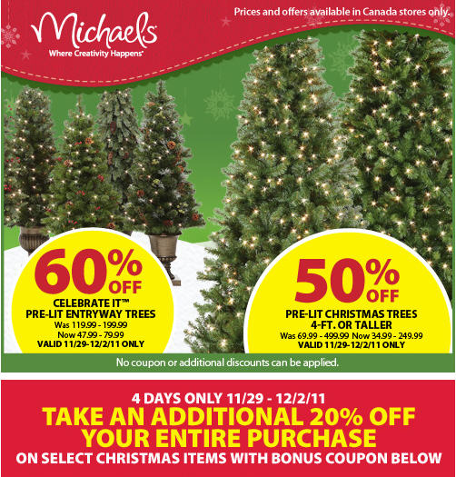 michaels 50 off pre lit christmas trees 4 days only sale nov 29 dec 2 - Christmas Trees At Michaels