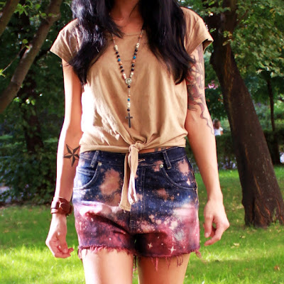 diy galaxy kosmos trendy moda szorty