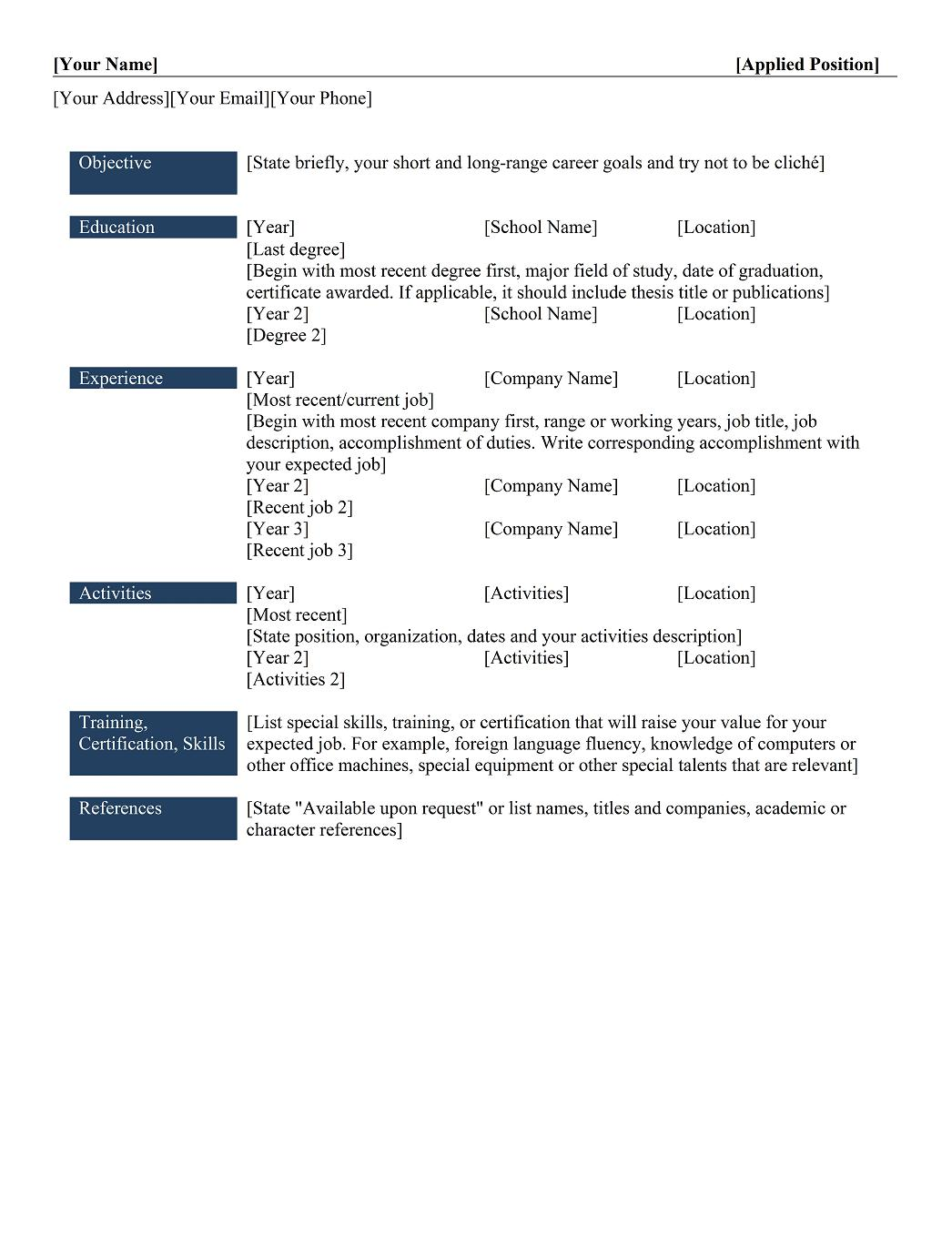Chronological Resume Template  Resume Key Words And Phrases