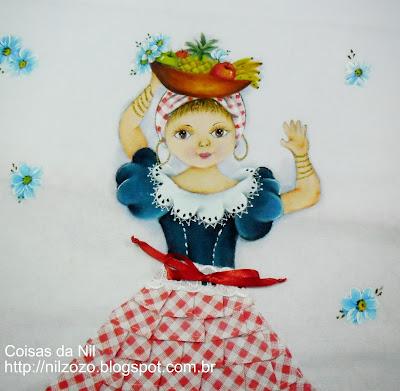 pintura em tecido boneca baiana em pano de copa