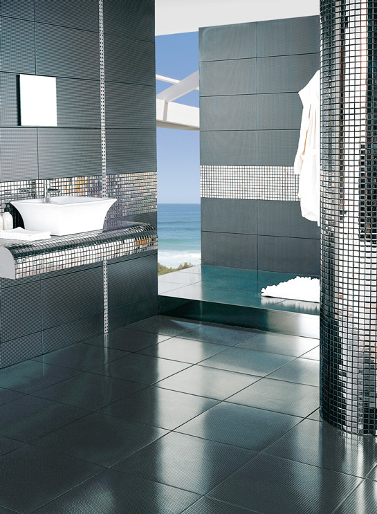 Baños Con Azulejos Grandes: encontrar piezasenteras, tipo gresite o azulejo con detalles en acero
