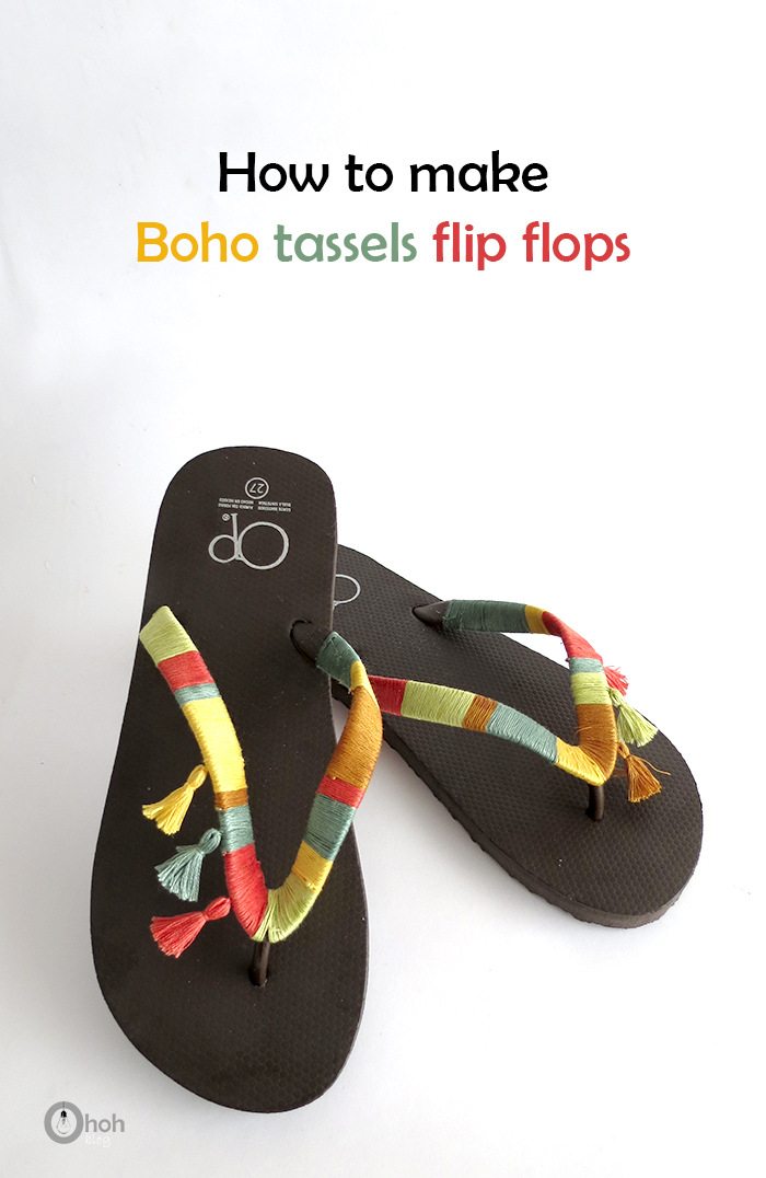 How to make boho flip flops with tassels