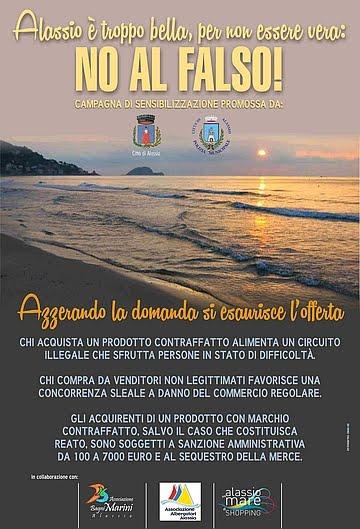 Alassio - Campagna di sensibilizzazione indetta dal Comune contro il commercio ambulante abusivo