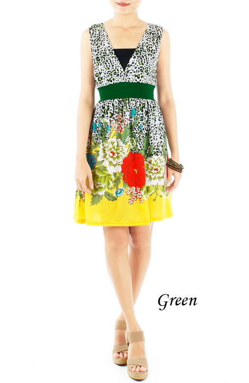 Green Garden of Eden Dress with Sash