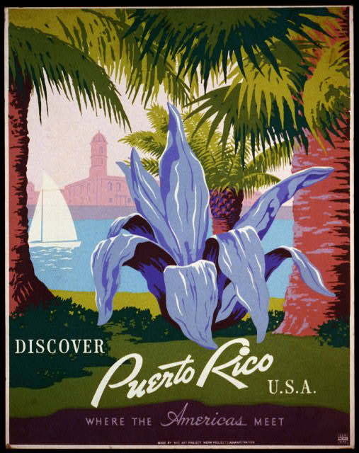 classic posters, free download, graphic design, retro prints, travel, travel posters, vintage, vintage posters, federal art project, wpa, Discover Puerto Rico, USA, Where the Americans Meet - Vintage Travel Poster