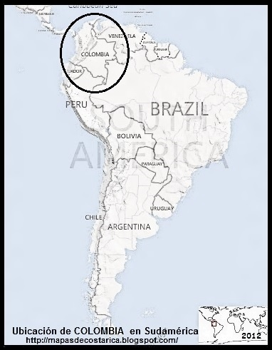 Ubicación de COLOMBIA en Sudamérica, blanco y negro