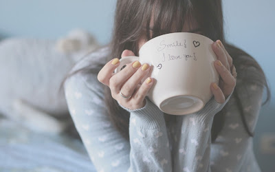 Girl Drinking Tea Text on Coffee Cup HD Desktop Wallpaper