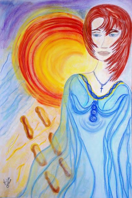 """Quadro Pastel sobre tela """"O meu Anjo-da-Guarda"""""""