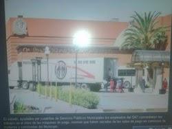 UTILIZO EL SAT 7 CAMIONES PARA CONFISCAR LAS MAQUINAS EN EL CASINO REVOLUCION
