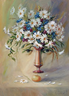 flower vase face optical illusion