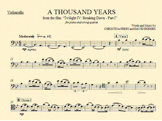 A Thousand Years - Cello part