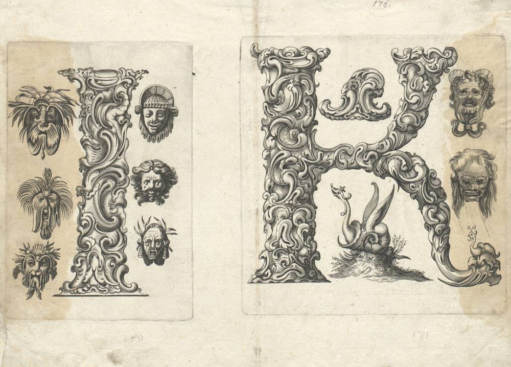 pair of fantasy botanical baroque letterforms