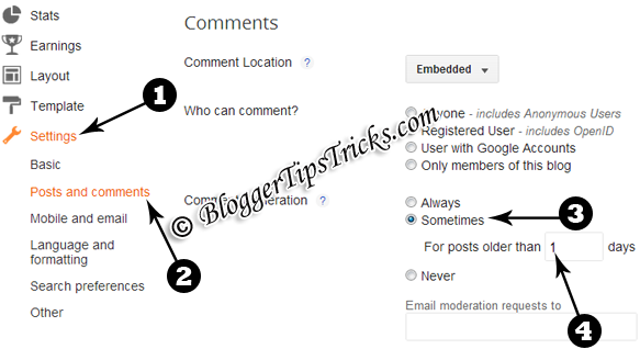 Blogger Comments Setting