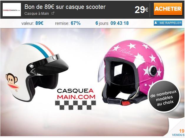 KGB Deals: payez 29€ un bon d'une valeur de 89€ sur casque scooter